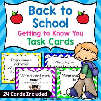 Getting to Know You Task Cards - Back to School K - 2