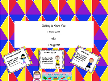 Getting to Know You Task Cards with Energizers