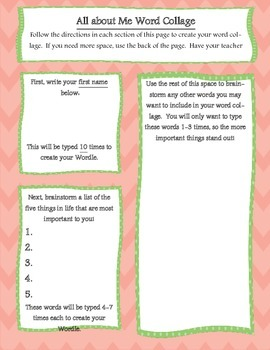 Getting to Know You Word Collage Graphic Organizer