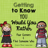 Getting to Know You Would You Rather Four Corners & Find S
