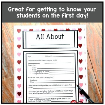 All About Me Student Information/Parent Contact Information Handout
