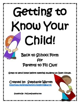 Getting to Know Your Child - Back to School Form