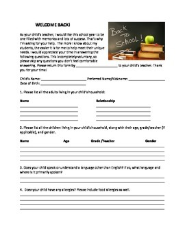 Getting to Know Your Child: Back to School Parent Survey