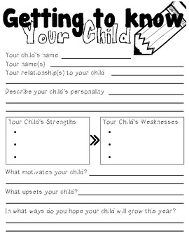 Getting to Know Your Child FREE