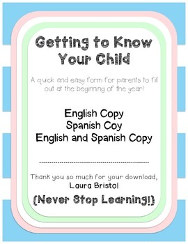 Getting to Know Your Child {FREEBIE} {English & Spanish}