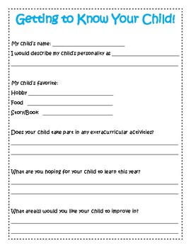 Getting to Know Your Child FREE PARENT QUESTIONNAIRE
