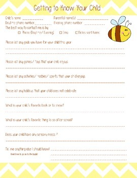 Getting to Know Your Child ( Parent Survey)