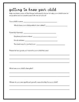 Getting to Know Your Child - Parent Survey