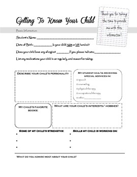 Getting to Know Your Child Questionaire