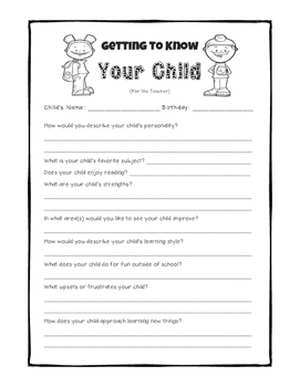 Getting to Know Your Child Questionnaire - Back to School