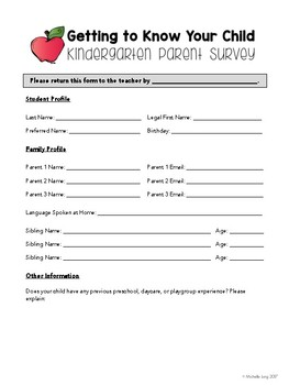 Getting to Know Your Child Survey
