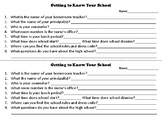 Getting to Know Your School Worksheet