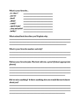 Getting to Know Your Students Handout
