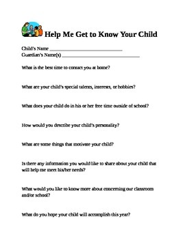 Getting to Know Your Students - Information - Open House