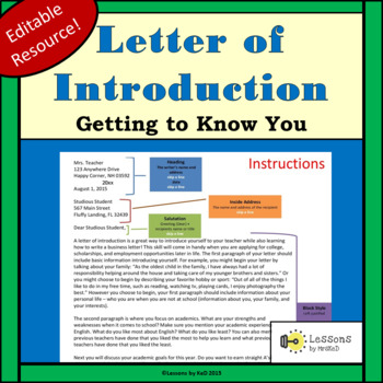 Getting to Know Your Students: Letter of Introduction
