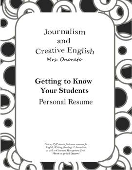 Getting to Know Your Students: Personal Resume