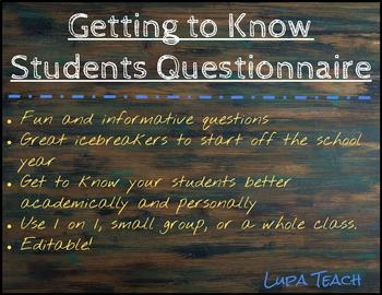 Getting to Know Your Students Questionnaire, Editable!
