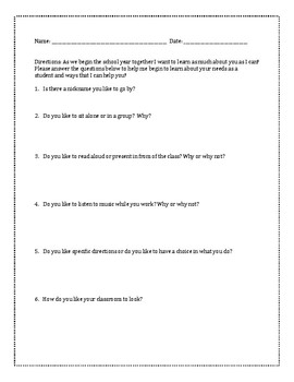 Getting to Know Your Students-Student Form