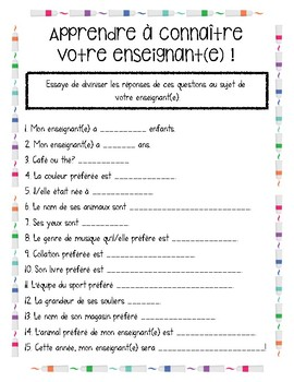 Getting to Know Your Teacher - French