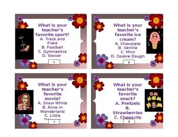 Getting to Know Your Teacher Task Cards (Bitmoji/Editable)