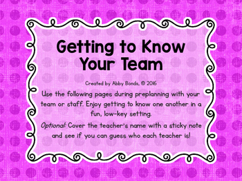 Getting to Know Your Teaching Colleagues