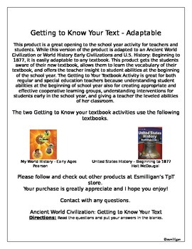 Getting to Know Your Textbook (Scavenger Hunt)- Adaptable