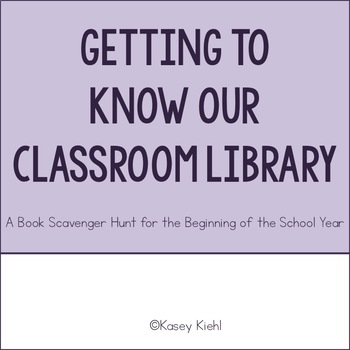 Freebie: Getting to Know our Classroom Library