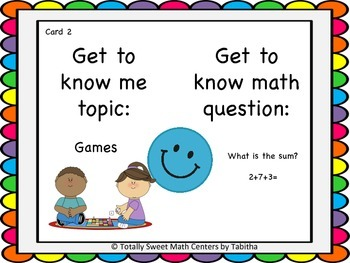 Getting to Know you- A back to school game for your math class Gr. 1
