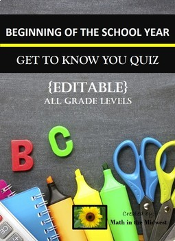 Getting to Know you Quiz {Back to School Activity}