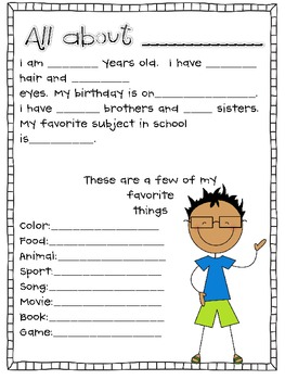 Getting to Know you sheets by Miss Nelson | Teachers Pay Teachers