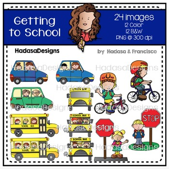 Getting to School Clip Art Set