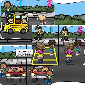 Getting to School Safe Kids:  Safe and Unsafe Choices Editable PowerPoint {bus}