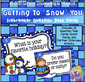 """Getting to """"Snow"""" You Icebreaker Question Task Cards"""