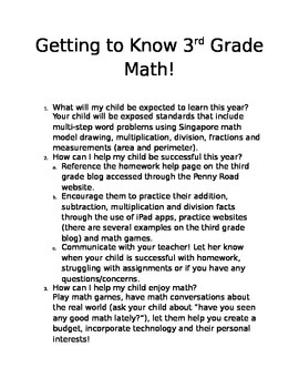 Getting to know 3rd grade math (common core hand out for conferences)