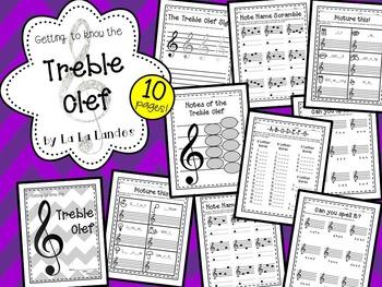 Treble Clef Worksheets Bundle