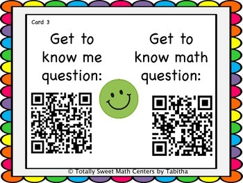 Getting to know you- A back to school activity for math class Gr. 3 QR Edition!