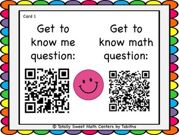 Getting to know you- A back to school activity for math class Gr. 4 QR Edition!