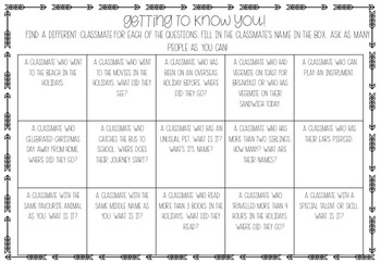 Getting to know you - Class Ice Breakers