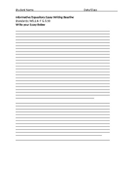 Getting to know you Informative/Expository Essay Baseline