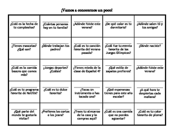 Getting to know you - Spanish 3 and 4 Day 1 Activity