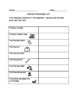 Getting to know you classroom scavenger hunt