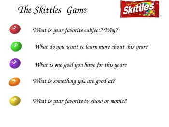 Getting to know you game with m&m's or skittles