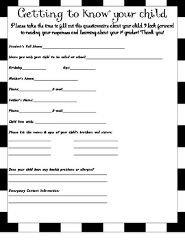 Getting to know your 1st grader form
