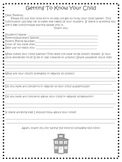 """Getting to know your child"" - Parent Form for the Beginning of the Year"