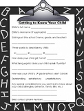 Getting to know your child question questionaire (chalkboa