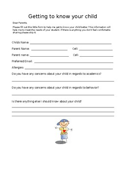 Getting to know your child survey...editable