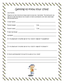 Getting to know your child survey...not editable