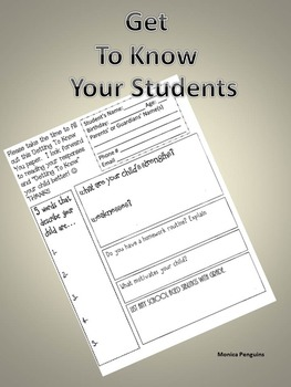 Getting to know your students (By the parent)