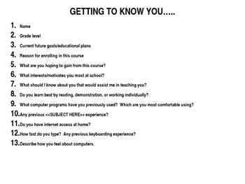 Getting to know your students - Great 1st day activity!