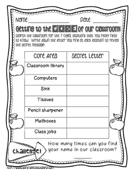 Getting to the CORE of Our Classroom- Beginning of the Year Activity Freebie!